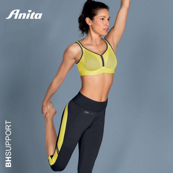 Sport bh zonder beugel met voorgevormde cups Anita active Deltapad in de kleur yellow antraciet