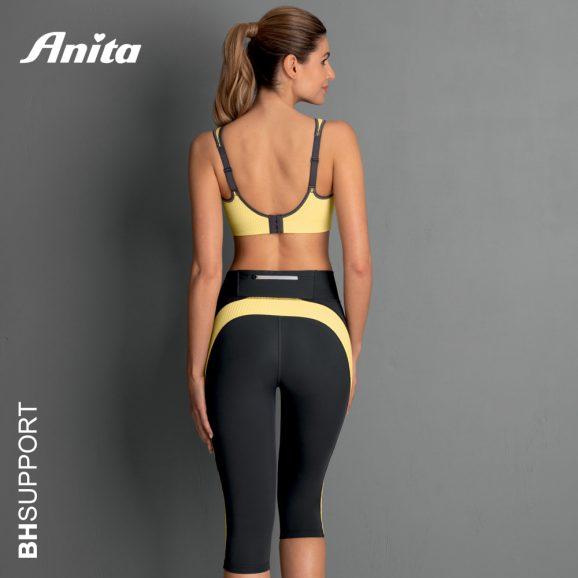 Achterkant Anita sport bh Deltapad yellow antraciet