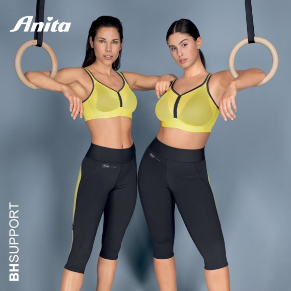 High support sport bh Anita Deltapad in yellow antraciet