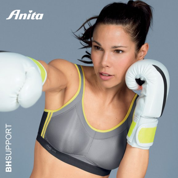 Sport bh Momentum van Anita in de kleur iconic grey met stevige schouderbandjes