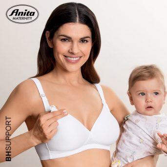 Door het mooie diepe decolleté van de witte beugelvrije Miss Anita voedingsbh kan hij mooi onder blouses en jurken gedragen worden
