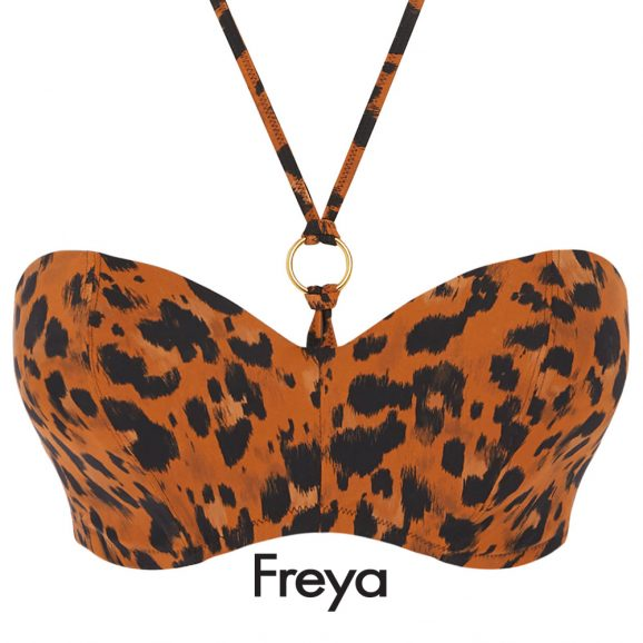 De voorgevormde Roar Instinct bandeau bikini top van Freya bikini top met beugel is uitgevoerd in een zwarte luipaardprint op amberkleurige achtergrond.
