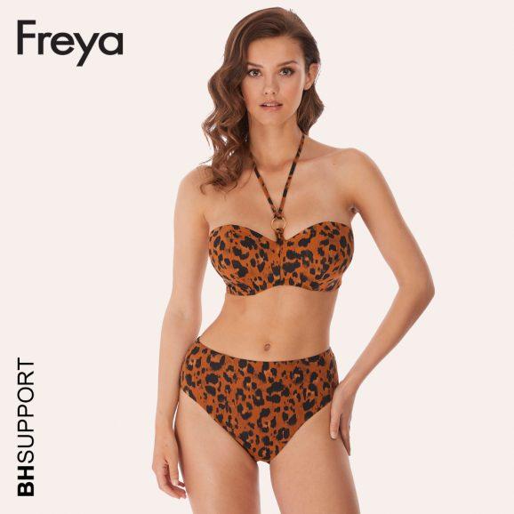 De Roar Instinct bandeau bikini top van Freya is op verschillende manieren te dragen, namelijk strapless en als halter in de nek.
