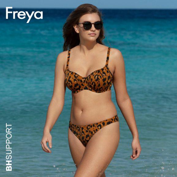 Voorgevormde bikini top Roar Instinct met zwarte luipaardprint op amberkleurige achtergrond is super leuk om met dezelfde print of juist een effen zwart Freya bikini broekje te dragen.