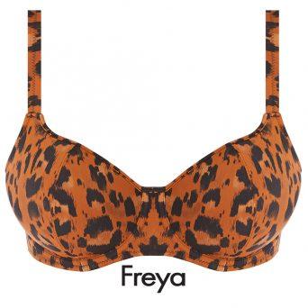 De Freya swim Voorgevormde bikini top Roar Instinct met beugel sluit wat hoger aan op het borstbeen voor mooie voorwaartse push.