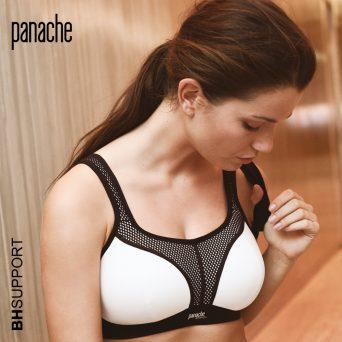 Panache sport bh zonder beugel, voorgevormd met padding in de kleur zwart met wit.