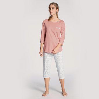 Calida sweet dreams pyjama driekwart in de kleur rose bud.